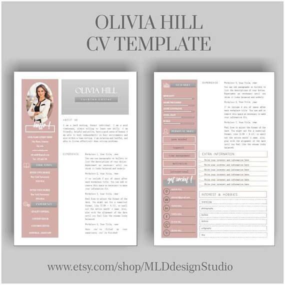 Resume Template 2 Page Cv Template Cover Letter For Ms Word Instant Digital Download Free Resume Template Download Resume Template Free Resume Template