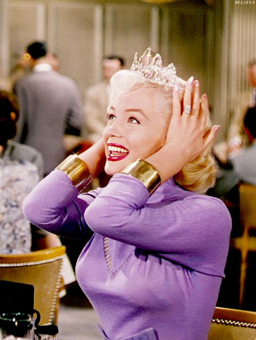 "Marilyn Monroe in ""Gentlemen Prefer Blondes"" I love this moment - when she exclaims ""I just love finding new places to wear diamonds!"":"