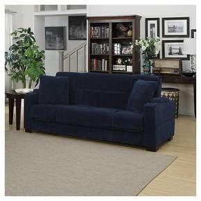 susan velvet storage arm futon sofa sleeper handy living