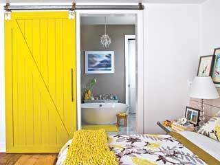 barn door to bathroom ... perfect guest room or kids room idea