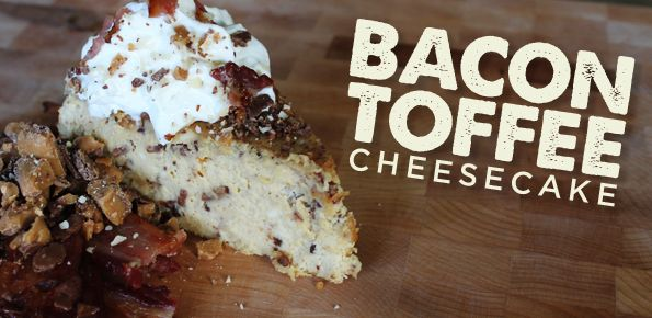 To make this Bacon Toffee Cheesecake, we've improved the classic cheesecake recipe by adding not only bacon, but bacon buttercrunch toffee as well!