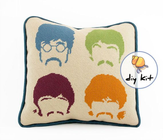 Needlepoint Beatles kit or canvas Modern by HermitCrabStitchery