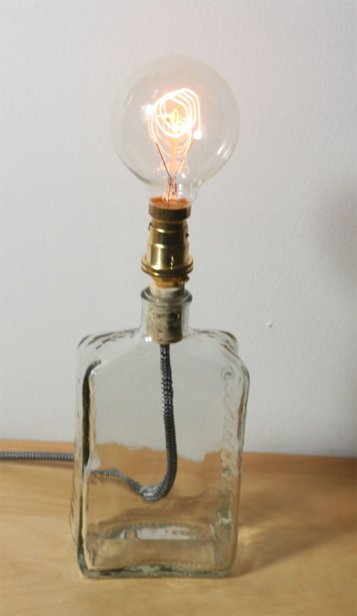 upcycled liqueur bottle lamp with vintage filament bulb father 39 s day gift guide pinterest. Black Bedroom Furniture Sets. Home Design Ideas