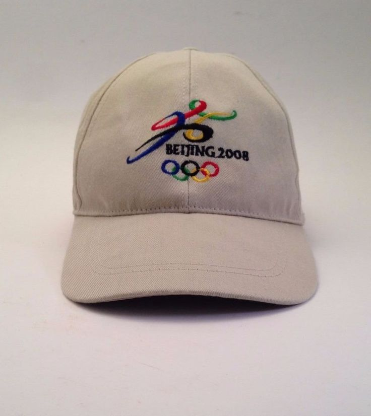 Vintage Beijing 2008 Olympics Long Brim Cap Hat Khaki One Size Sports China