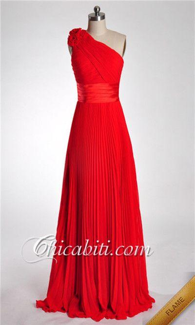 Chiffon Lungo Abito Da Cerimonia Blu Una Spalla Fiore ACM251#chicabiti#dresses#prom dresses