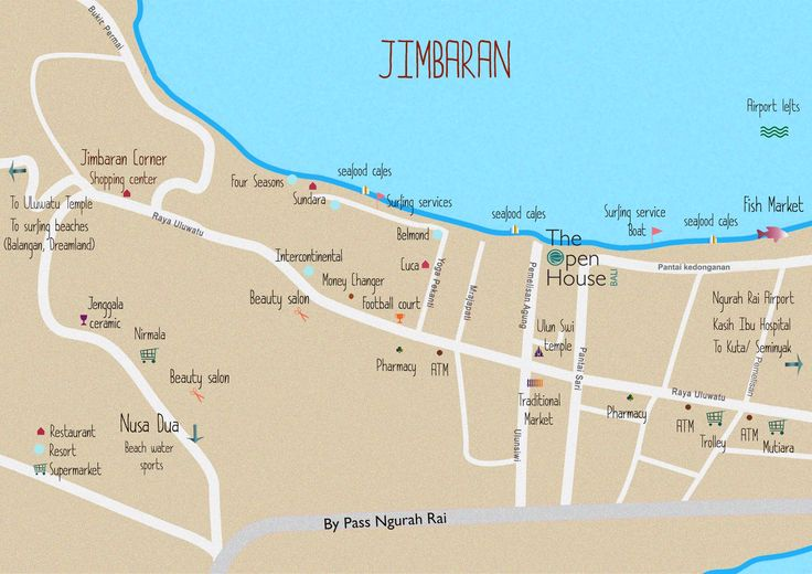 The Open House Bali map with all the important locations within walking distance from the hotel