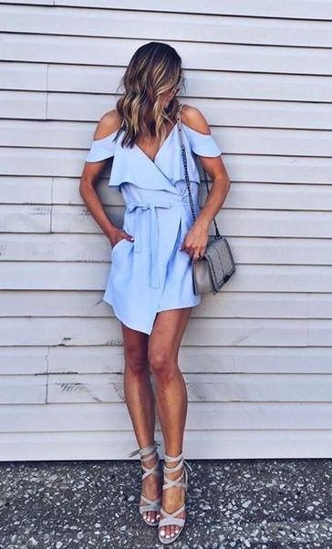Light blue open shoulder dress