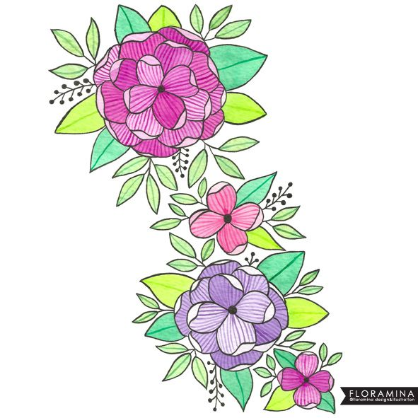 Floral illustration hand painted with watercolors and ink!!!