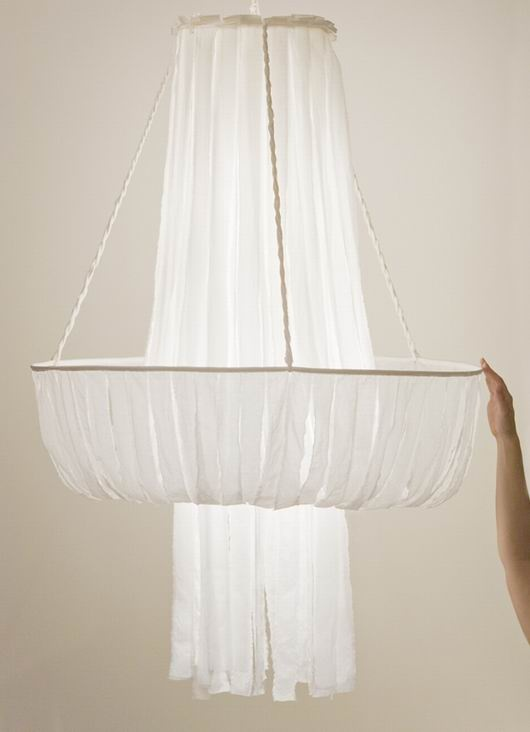 beautiful fabric chandelier. This would look awesome in the middle of my apartment's livingroom.