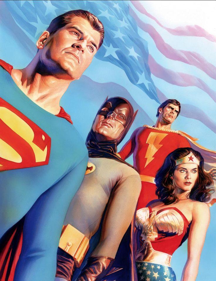 age of TV Heroes - Wonder Woman - Shazam - Superman - Adam West Batman - by Alex Ross