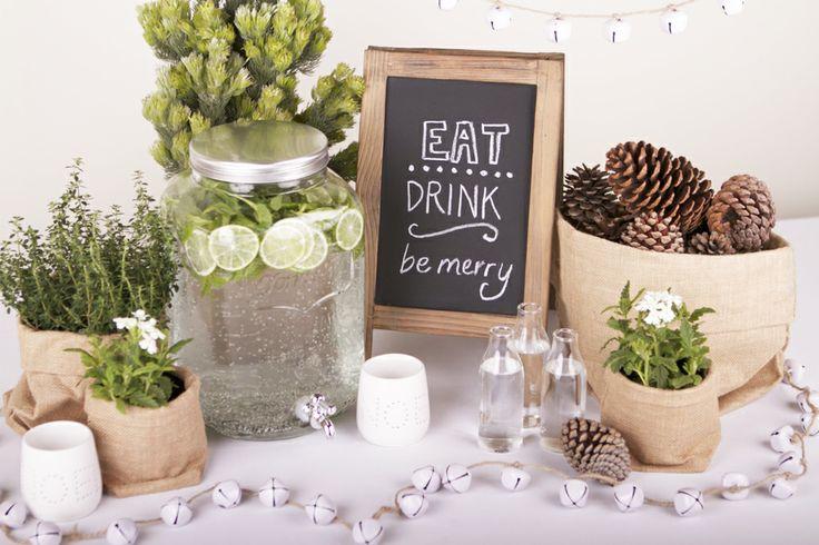 Wooden Chalkboard, Yorkshire Drink Dispenser, Jute Sacks, Noel Tea Light Holder in Organic Christmas Theme