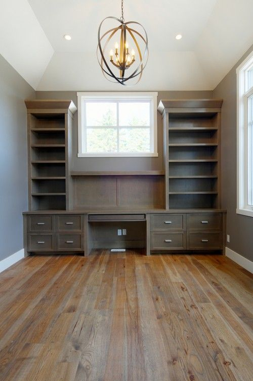 home office. Need some built ins around the window. White lacquer w fun bold print wallpaper behind the shelves!