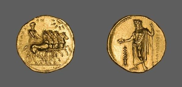 Greek, Gold stater of Cyrene, North Africa, c.322-308 BC (source). On the obverse is Nike driving a quadringa, and on the reverse is Zeus AmmonNorth Africa, Greek Coins, Greek Artifacts, Gold Stater, Ancient Artefacts, Zeus Ammon, Ancient Greece, C 322 308 Bc, Nike Drive