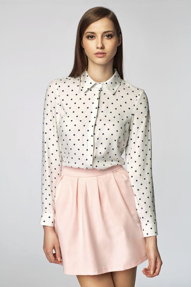 MISEBLA koszula w granatowe kropki 0110 - MISEBLA - Koszule damskie