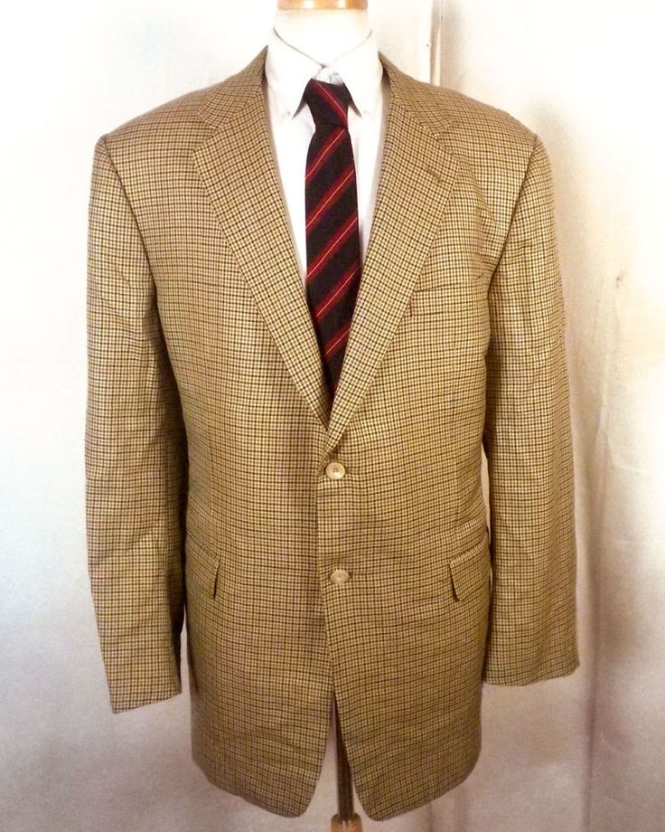 euc Hickey Freeman Multi Color Plaid Wool Silk Canvassed Blazer Sportcoat 46 L #HickeyFreemanforNeimanMarcus #TwoButton