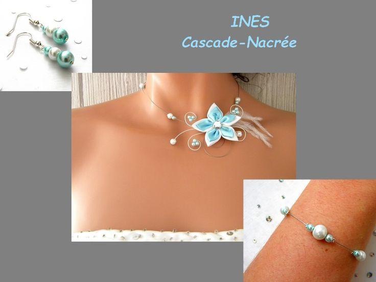 parure mariage turquoise pastel blanc mariage fleur de satin perle fantaisie : Parure par bijoux-cascade-nacree