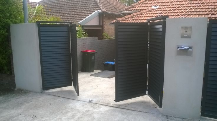 New bi-folding automatic gates. Allows you to have automatic swing gates on a property with a short driveway, and still have space to park your car.