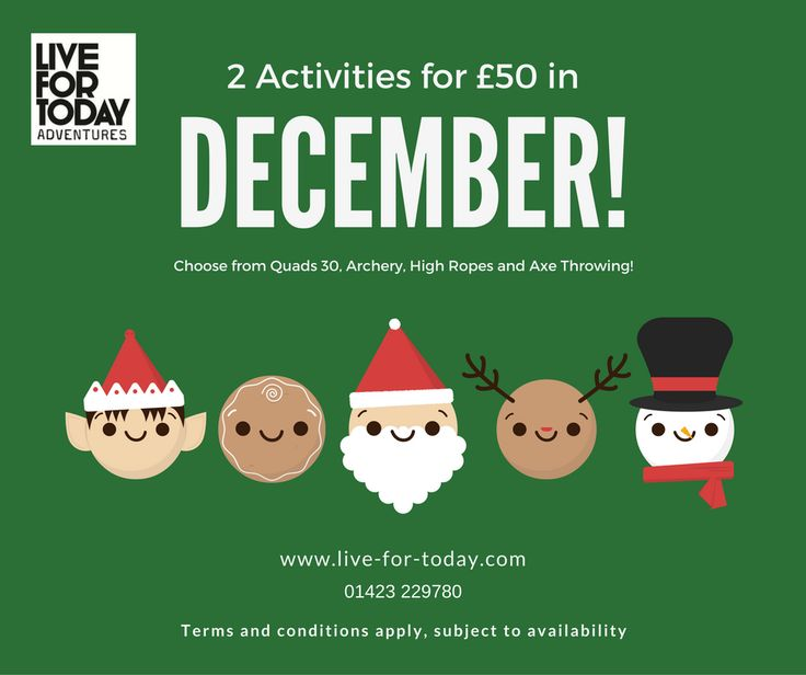Take advantage of our fantastic christmas offer! 2 activities for £50 in December! #christmasideas #christmasdeal #whatsyouradventure