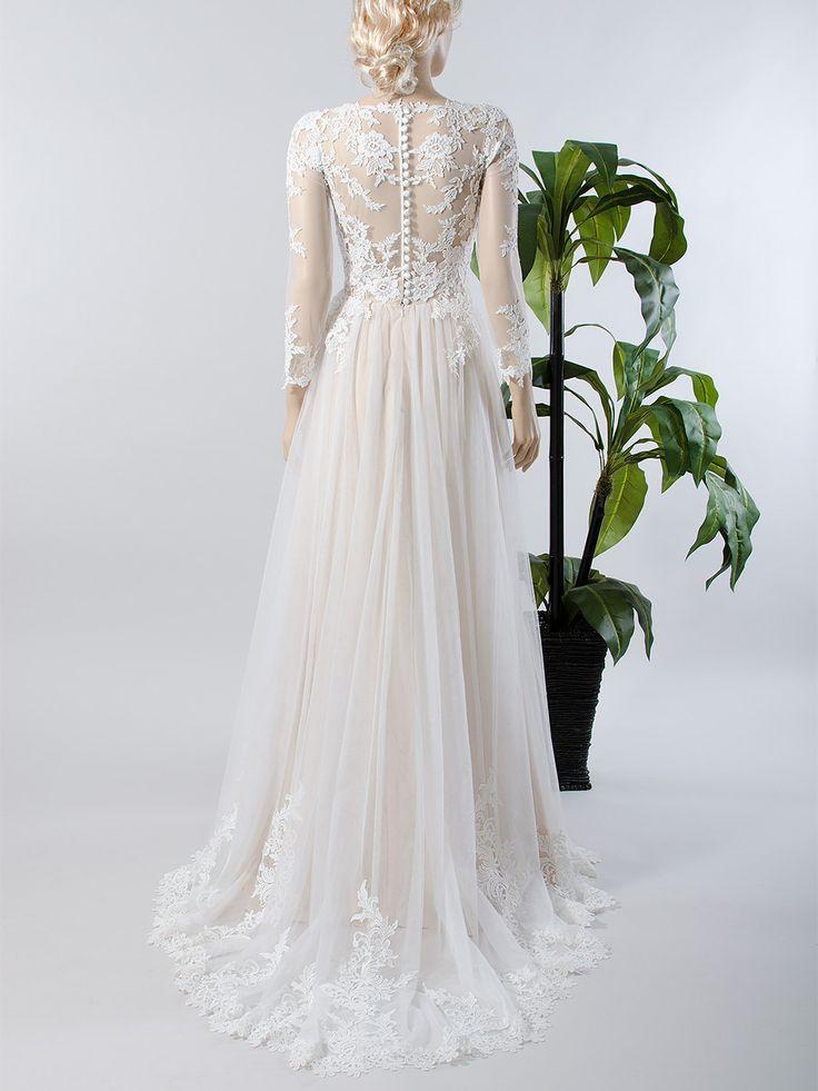 Da sposa in pizzo manica lunga abito da sposa di ELDesignStudio