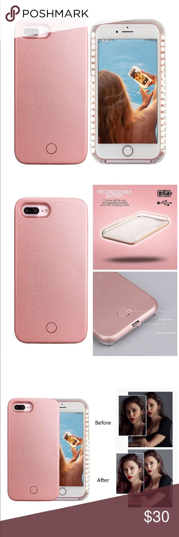 Illuminating Selfie iPhone 7 Plus Case Like new - gorgeous rose gold color! Similar to the Lumee phone case! This car is rechargeable and come with cord! Accessories Phone Cases