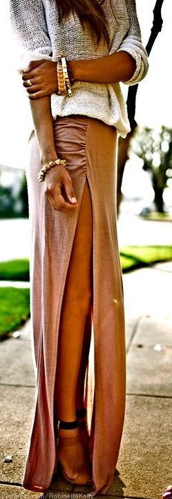 Urban Banded Jersey Knit Long Maxi Skirt