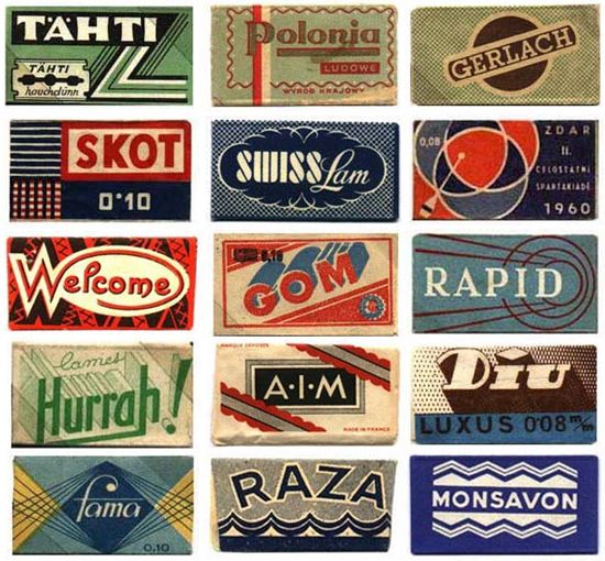 Razor blade wrappers of the world! Amazing collection of type & graphics.