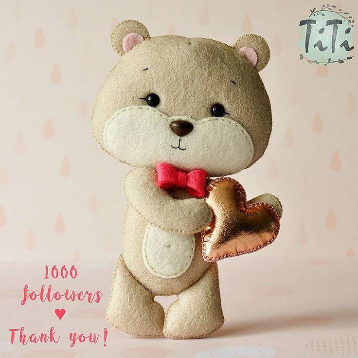 First thousand Thank you so much  Kisses for each of you #1k #1000followers #felt #feltartist #feltbear #feltcraft #cutebear #feltart #love #hanmade #handmadeshop #titikreatywnaprzestrzen #recznierobione #filc #filcowymis #feltteddybear #feltro #teddybear #handmadelove