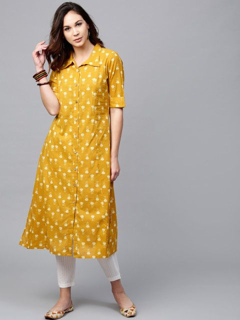 d061fecdf9 Buy AKS Women Mustard Yellow Printed A Line Kurta - Kurtas for Women  2463731   Myntra