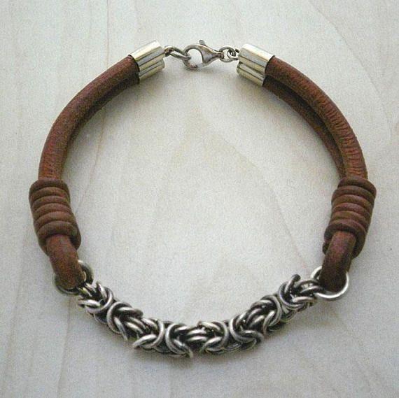 Byzantine silver chain braceletmens sterling silver