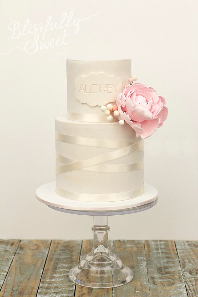 Two tier cake with peony and ribbon detail - Blissfully Sweet Minus the flower for baptism cake.