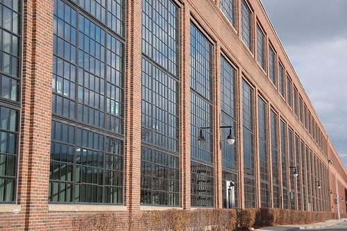 Arsenal Building, Watertown: Glass & brick facade angle view