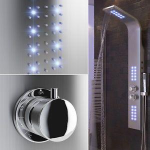 Dusche Duschpaneel LED beleuchtet Duscharmatur Wasserfall Duschsäule Thermostat