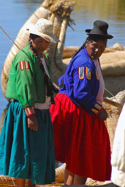 Local women on banks of Lake Titicaca, Bolivia