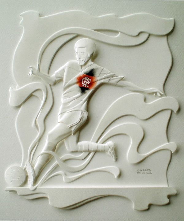 """Paper sculptures for """"soccer players"""" project. -01"""