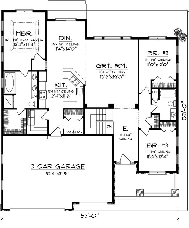 first floor plan of craftsman traditional house plan 1867 sq ft find this pin and more on house plans with 3 car garages - Small House Plans With 3 Car Garage