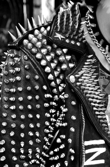 Studded spiked black leather heavy metal rock emo punk music clothes clothing style goth gothic Love the jacket, but is that whole leaning pose really necessary? Description from pinterest.com. I searched for this on bing.com/images
