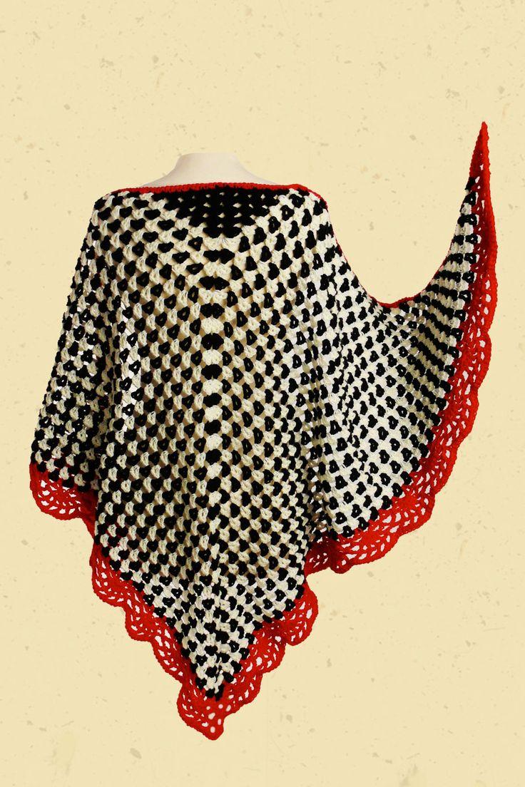 Omslagdoek zwart wit gestipt rode rand