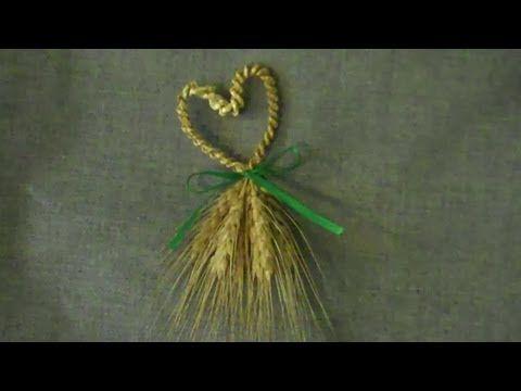 Wheat Weaving: Heart-shaped Wedding Favor - YouTube tutorial