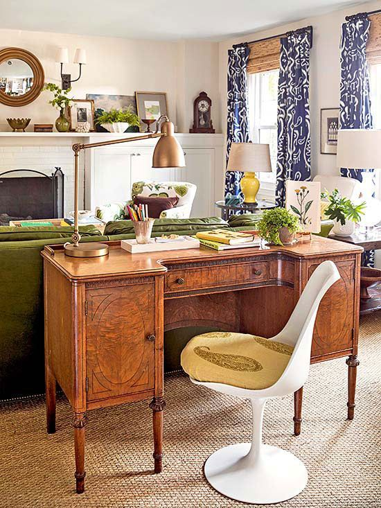 Rich greens, dark blues, and warm shades of brown  come together to create a natural look with just a hint of an eclectic vibe.