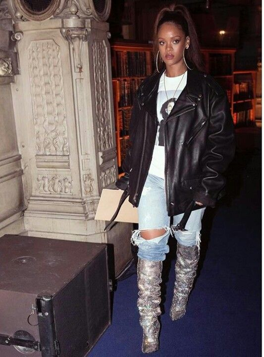 Rihanna. Damn! Im buying those boots right now! Thank you Riri!