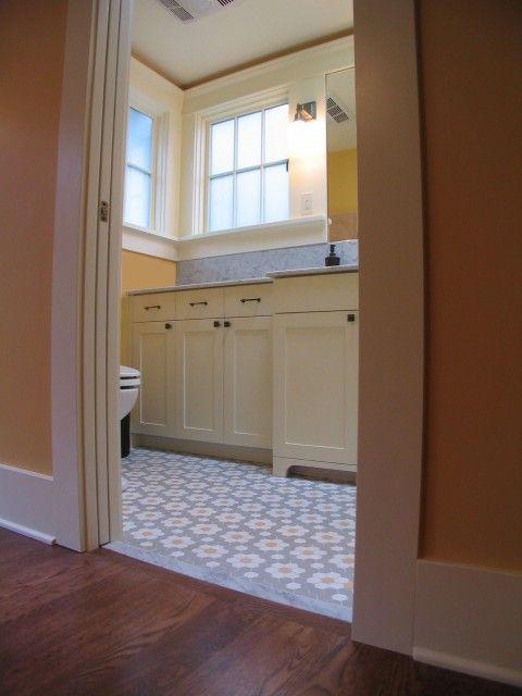 craftsman bathroom: Floors Tile Patterns, Window Trim, Craftsman Bathroom, Bathroom Remodel, Small Bath, Bathroom Ideas, Traditional Bathroom, Photo, Bathroom Cabinets