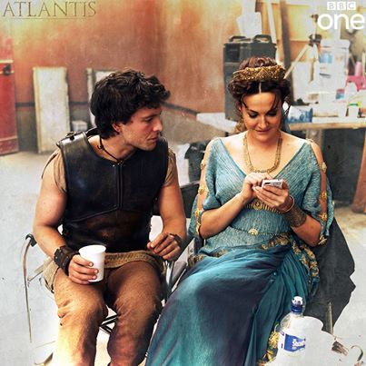 awwwwww.... Jack Donnelly and Sarah Parish (son and mother) behind the scenes. still not over it.  Atlantis. BBC.