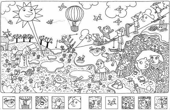 Cherche et trouve à colorier - Jeux à Imprimer