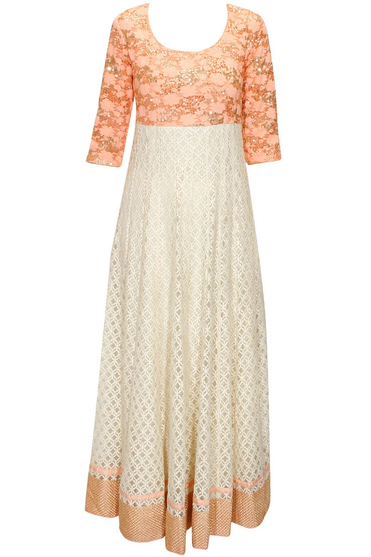 Ivory contrast yoke embroidered anarkali set available only at Pernia's Pop-Up Shop.