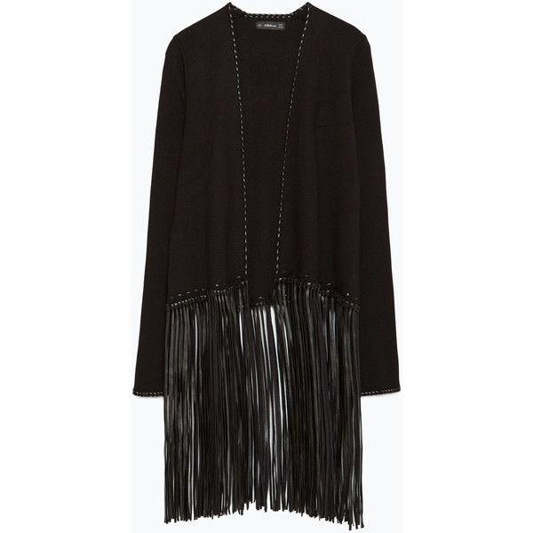 Zara Jacket With Fringe (€62) ❤ liked on Polyvore featuring outerwear, jackets, black, embellished jacket, zara jacket and fringe jacket