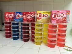 DIY PROJECT: 1 Package of Jell-O + 1 Cup Boiling Water + 1 Cup Rum/Vodka = Jello-O Shots... Have Fun with the flavors!