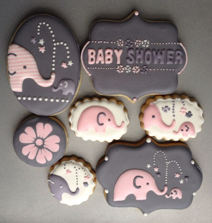 Elephant baby shower cookies.