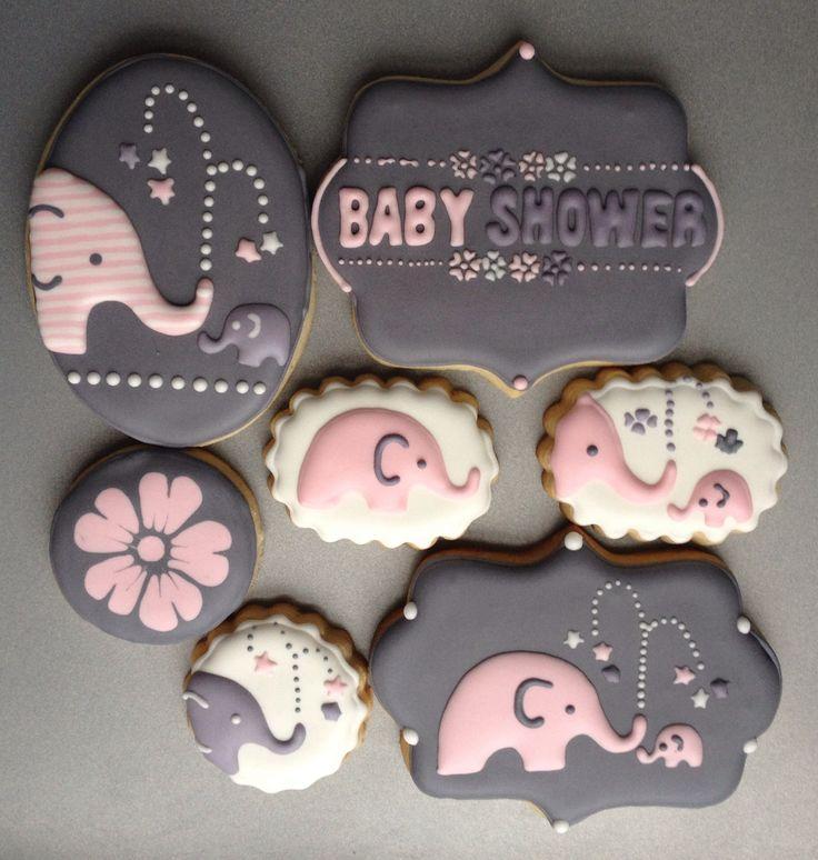 Elephant baby shower cookies.