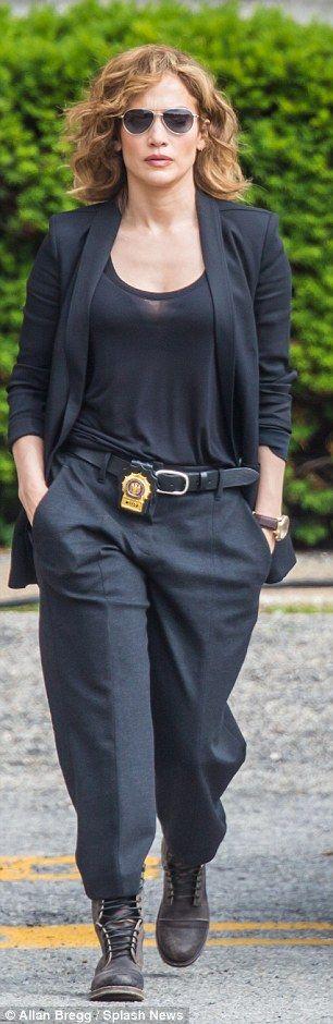 Jennifer Lopez flashes badge on set of new TV drama Shades Of Blue #dailymail