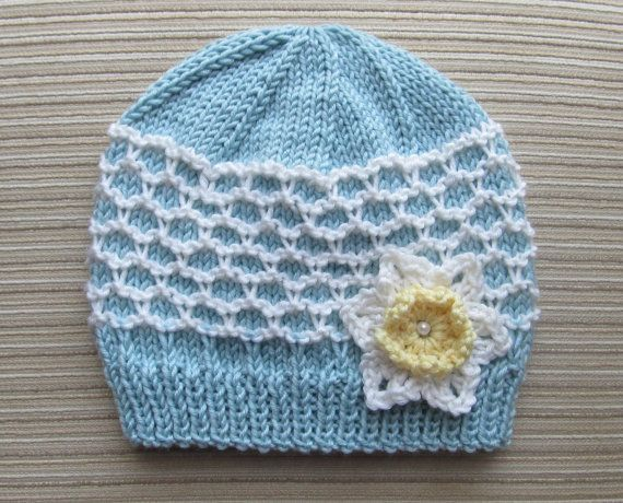 Instant Download Number 119 Blue and White Hat by handknitsbyElena, $2.99